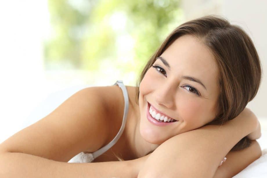 Woman smiling natural teeth whitening